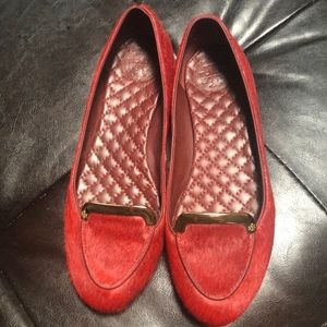 Tory Burch red calf hair Loafers